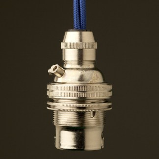 Nickel Pendant Lampholder Bayonet B22 fitting