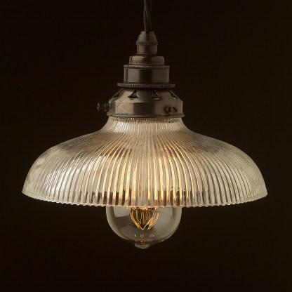 Holophane glass dish light shade Pendant