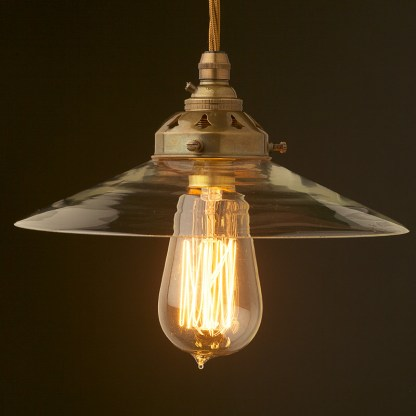 Clear glass dish lampshade pendant