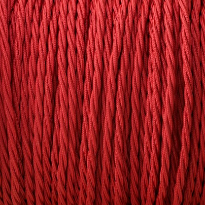 Fabric Covered Braided 3 Core Lighting Flex Red