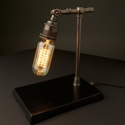 Vintage Industrial Bronze Small Table Lamp