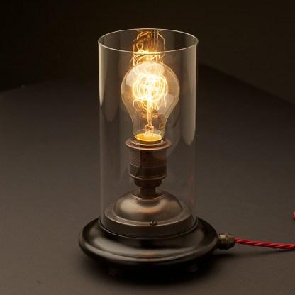 Vintage Glass tube Bronze Table lamp