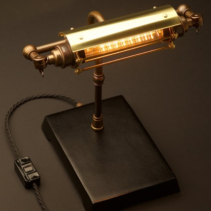 Antique Brass Steampunk Banker Table Lamp