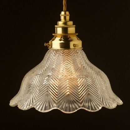 Holophane pattern glass light shade pendant