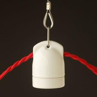 White twin entry Porcelain E27 festoon lamp holder