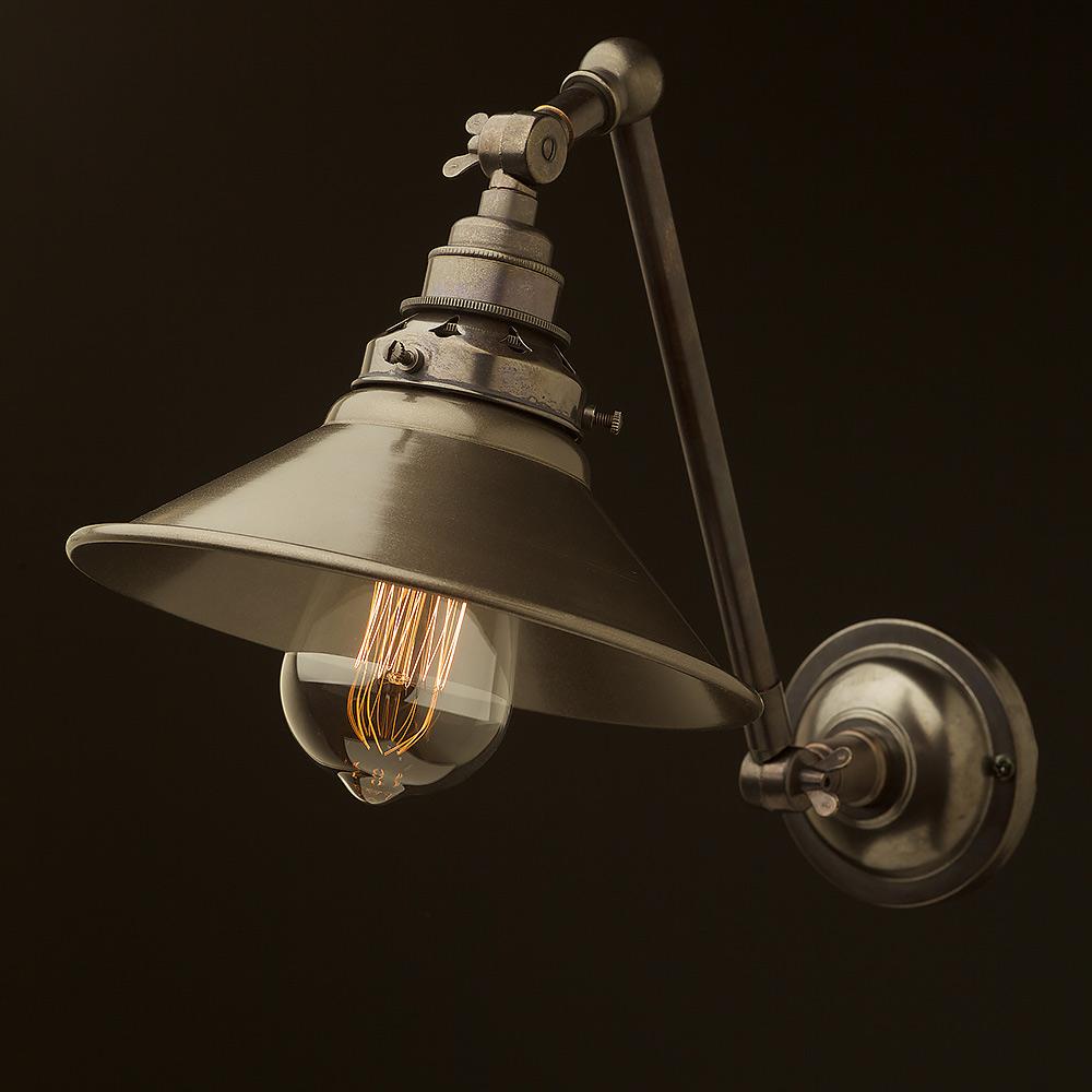 Bronze Adjustable Arm Wall Mount Shade • Edison Light ...