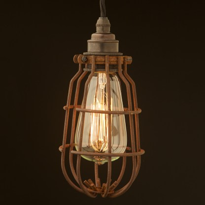 Enclosed Antiqued Light bulb guard fitting 7 inch