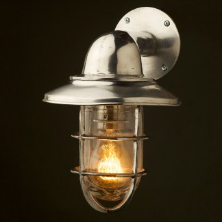 Vintage Ship Aluminum Shaded Bulkhead Wall Light