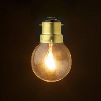 Incandescent tungsten B22 25W clear round bulb