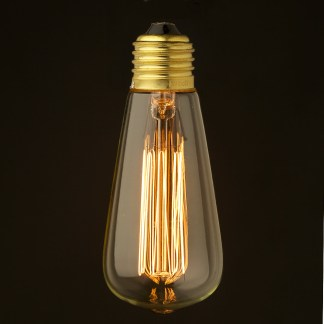 Vintage Small Edison Squirrel Cage Teardrop filament bulb