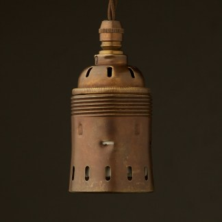 Heavy Antique Brass Lampholder Edison E40 fitting