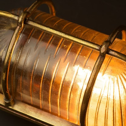 Small Brass Ships Oval Caged Bulkhead Light