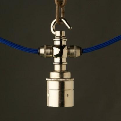 Nickel hook E27 festoon lampholder