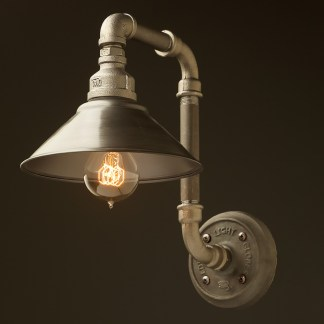 Plumbing Pipe Wall Shade Lamp black steel antiqued shade