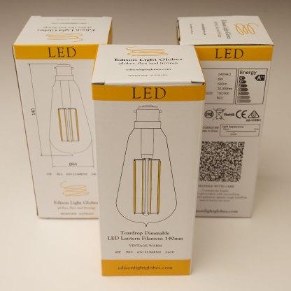 6 Watt Dimmable Lantern Filament LED B22 Clear Edison