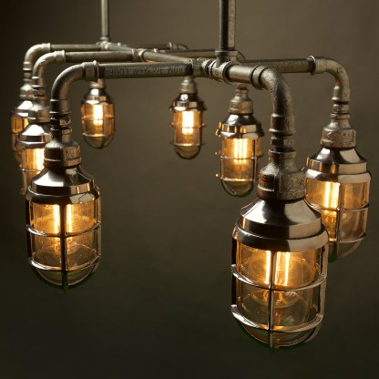 Outdoor Galvanised Plumbing Pipe Dining Table Light