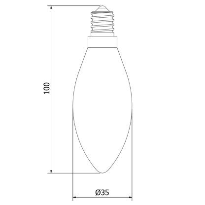 4 Watt Dimmable Filament LED E14 Candle Bulb