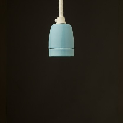 E27 light blue porcelain pendant