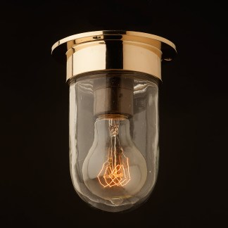 Small brass flushmount light