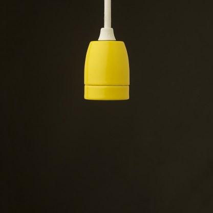 E27 yellow porcelain pendant