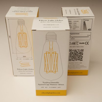 Vintage Edison Squirrel Cage Teardrop filament bulb 140mm E27