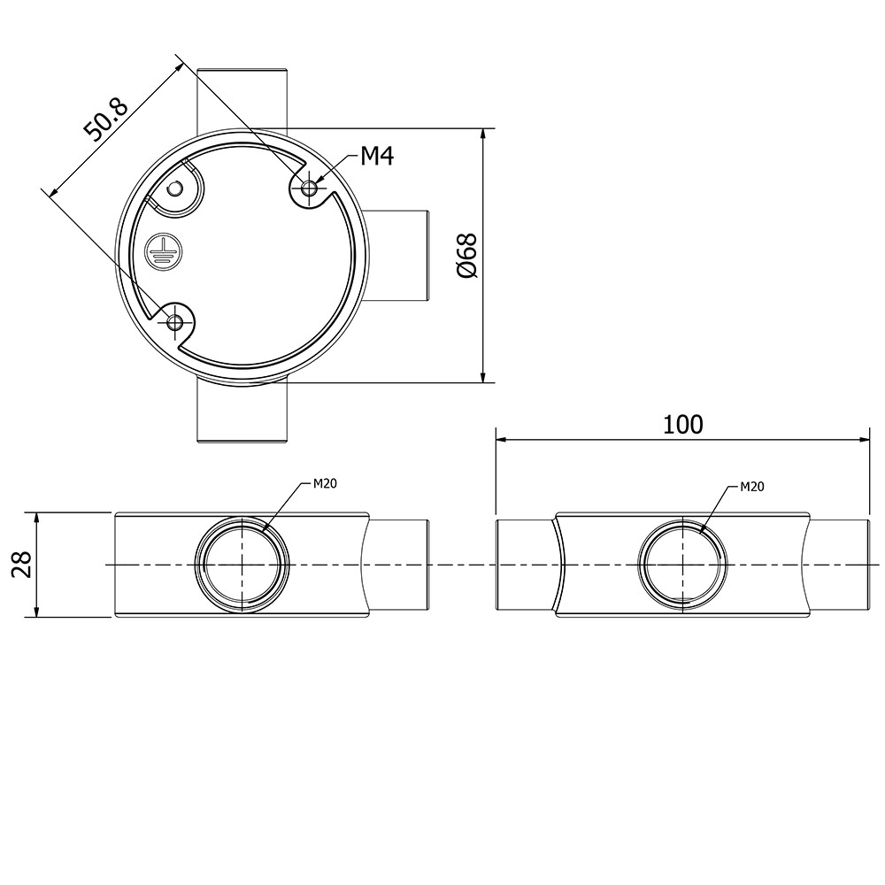 3 Way 20mm Conduit Outlet Junction Box