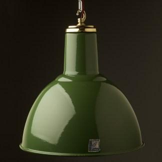450mm Vintage green enamel domed factory shade