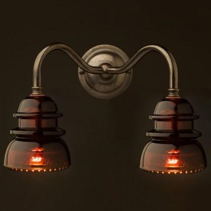 Brass Twin Hemingray Insulator Wall Light