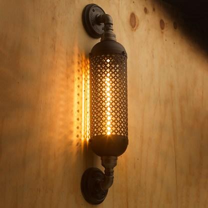 Industrial Club&round wall guard tube light black steel with black gaurd