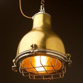 Vintage brass ships enclosed caged pendant