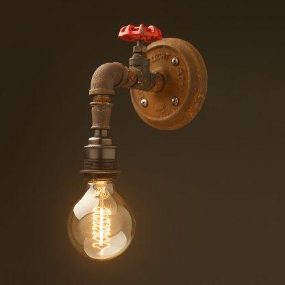 Plumbing pipe tap wall light