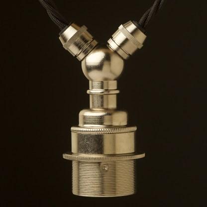Nickel E27 festoon lamp holder