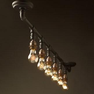 Vintage Galvanised Plumbing Pipe Short Gantry light