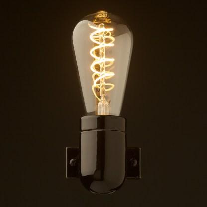 Black porcelain wall light front Teardrop spiral LED