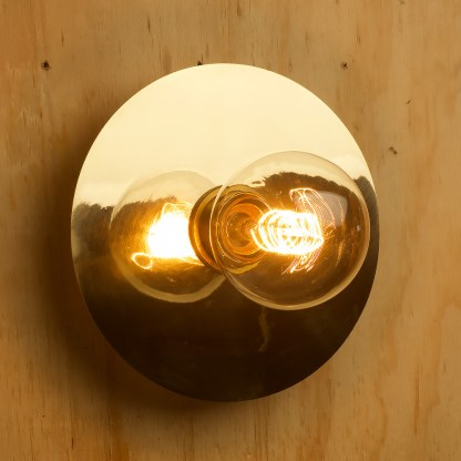 Brass disc wall light G80 vintage spiral side