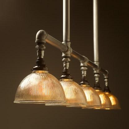 Five lamp Plumbing pipe billiard table light Holophane dome G95