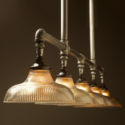 Five lamp Plumbing pipe billiard table light Large Holophane dish G95