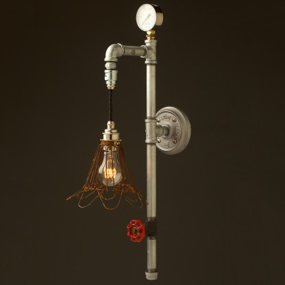 Galvanised plumbing pipe wall pendant rusted wire cage