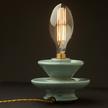 Vintage blue ceramic short insulator table lamp C 100