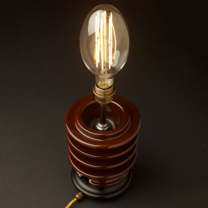 Vintage brown ceramic high tension insulator table lamp C100