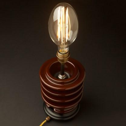 Vintage brown ceramic high tension insulator table lamp C100