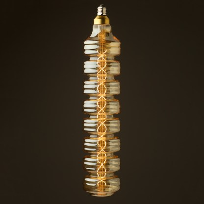 8 Watt dimmable filament LED amber glass long disc globe