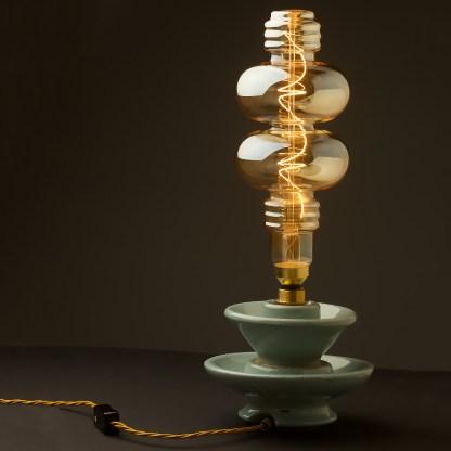 6 Watt dimmable filament LED amber glass two disc globe lamp