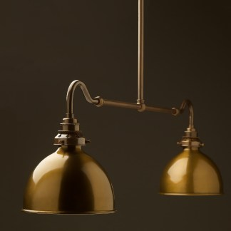 Antique brass single drop small table light brass dome