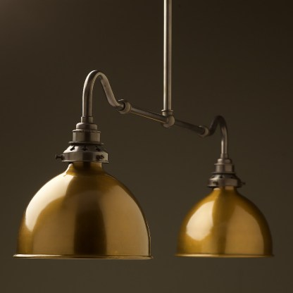 Bronze single drop small table light brass dome