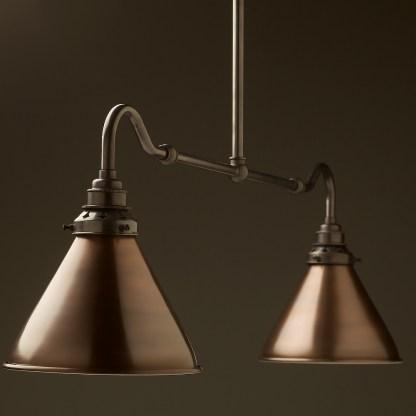 Bronze single drop small table light bronze cone