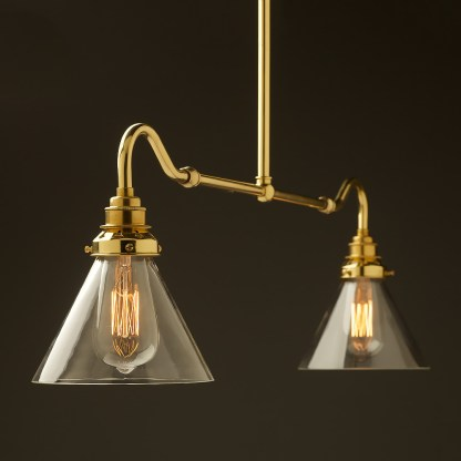 New brass single drop small table light glass cone