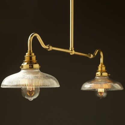 New brass single drop small table light holophane dish