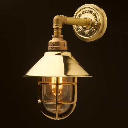 Outdoor solid brass straight arm wall light