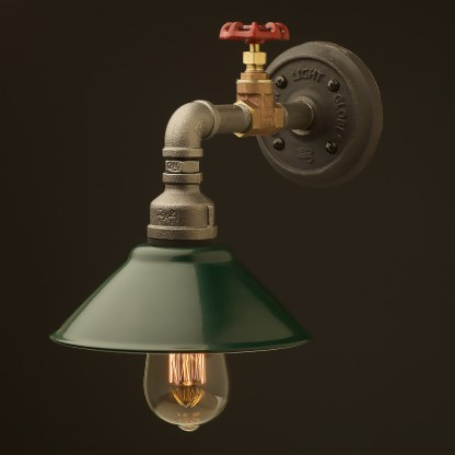 Small shade straight arm tap and wall light green shade 190mm